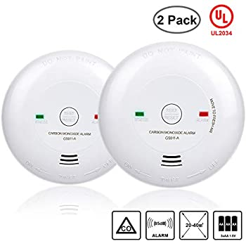 Carbon Monoxide Alarm, 2 Packs UL 2034 Listed Carbon Monoxide Detector Battery-Operated CO Alarm(Not Hardwired) Silence Button, ...