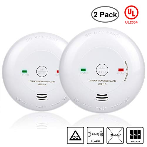 Carbon Monoxide Alarm, 2 Packs UL 2034 Listed Carbon Monoxide Detector Battery-Operated CO Alarm Not Hardwired Silence Button, Electrochemical Sensor Battery Included