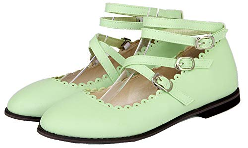 GMMDB010567 Fibbia Flats AgooLar Ballet Donna Tacco Verde Basso Puro wwAU0qI