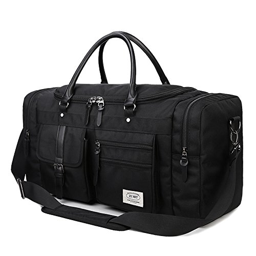 ZUMIT Travel Duffel Bag 45L 60L Square Black Business Weekend Tote Bag Gym Sports Holdall Bag Water-resistant Luggage Bag #806 Large Weekend