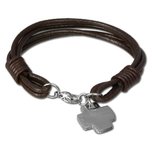 SilberDream Leather bracelet brown with stainless steel cross, 7.48 inch to 8.07 inch, leather bracelet genuine leather LAP004B