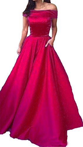 Fomal With Evening Dresses Shoulder Poctets Dresses The Burgundy Party BessDress BD394 Satin Long Off 0U8qn