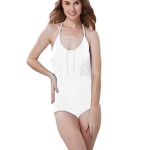 Tefamore atractivas ahueca hacia fuera los trajes de baño de las mujeres hembra de corte bajo sin mangas traje de baño Blanco