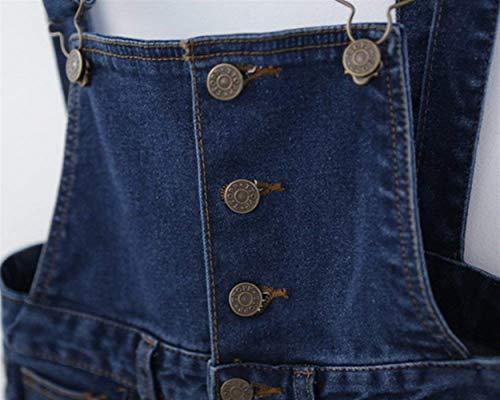 Blau Betrothales Con Donna Fit Tasche Strap Jeans Hole Pantalone Slim Pettorina Stretch Regolabile Intera Trousers 6w1qfS6