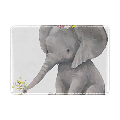 Protector Case Ducks (Cooper girl Cute Elephant And Duck Passport Cover Holder Case Leather Protector for Men Women Kid)