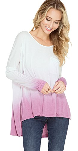 She + Sky Women's Ombre Dip Dye Pocket Tunic Top (Small, ()