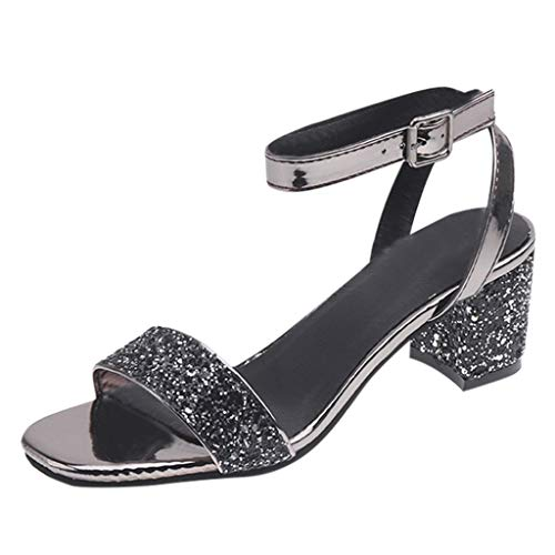 Benficial Women's Sandals Fashioh Summer Open Toe Casual Square Heels Shoes Ladies Sandals 2019 Summer New Gray