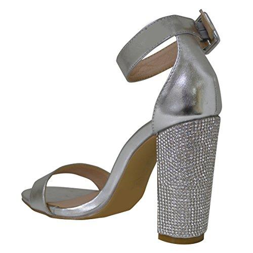 Ladies Diamante Block Heel Strap Platform Sandal Silver fAJPzYjw5