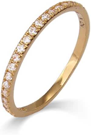 Thin Pave CZ Stackable Ring
