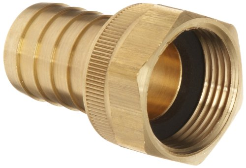 """Dixon BS848 Brass Hose Fitting, Machined Coupler with Swivel Nut, 1"""" NPSH Female x 1"""" Hose ID Barbed"""