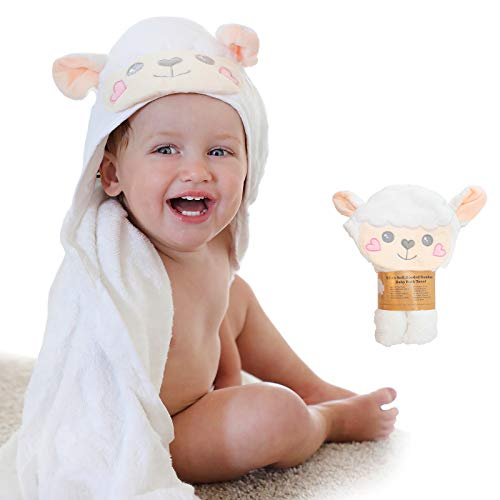 Sonnellino | Baby Hooded Towels | Snoozy Bug Series Premium Plush 500 GSM Organic Bamboo | Infants, Toddlers, Boys & Girls (Lamb)