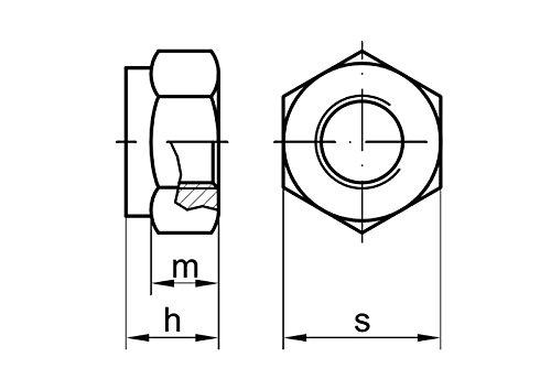 10 Stk DIN 985 Sicherungsmuttern M10x1 Stahl verzinkt Festigkeit 8