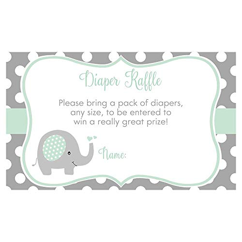 Elephant Baby Shower Invitations Sprinkle Unisex Gender Neutral Mint Gray Polka Dots Printed Invites Custom (10 Count)