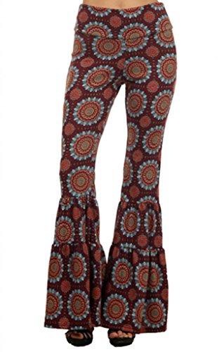SugarRock Women Paisley Palazzo Hippie Pants Fold-Over Waist Bell Bottom Leg