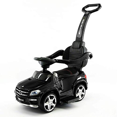 Ride On Push Car Stroller - 2019 Converts to a Swing | Luxury Kids Ride-On Mercedes Benz GL63 Convertible Baby Stroller Toy w/ LED Lights, Soft Seat, MP3 Aux Plug in (Black, 2019 Push Car)