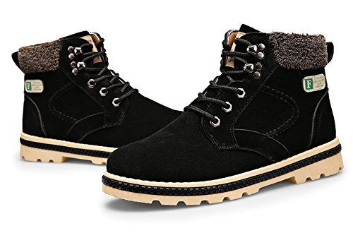 Santimon Herren Stiefeletten Bootsschuhe Derby Schnürhalbschuhe Kurzschaft Stiefel Winter Boots für Outdoor Martin Schuhe Schwarz