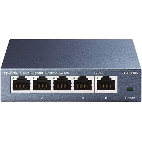 TP-Link TL-SG105 - Switch 5 Puertos 10/100/1000 Switch ethernet, Switch gigabit, Indicador del estado, acero inoxidable con Super disipacion de calor, IGMP snooping, QoS