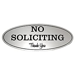 Oval No Soliciting Sign (Brushed Silver) - Small