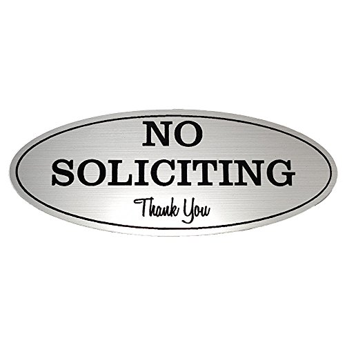 Oval No Soliciting Sign (Brushed Silver) Small