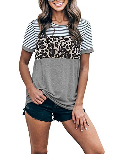 Uincloset Women's Leopard Color Block Striped Short Sleeve T Shirts Round Neck Casual Tees Tops Grey ()