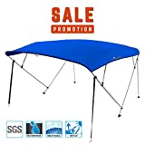 KING BIRD 4 Bow Bimini Boat Top Cover Sun Shade Boat Canopy Waterproof 1 Inch Stainless Aluminum Frame 54' Height with Rear Support Poles and Storage Boot (Royal Blue, 79'-84')