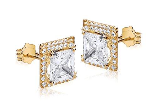 Boucles d'oreilles en or jaune 9carats serti de pierre carré Transparent et