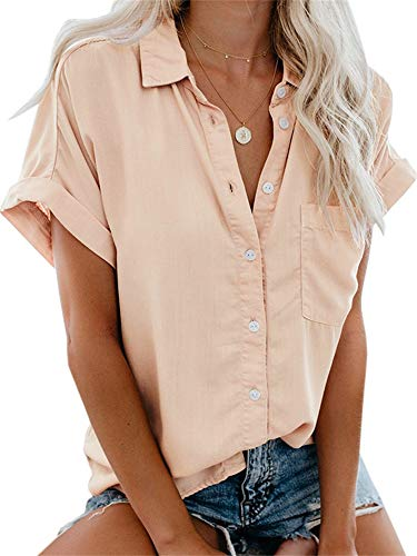 - Beautife Womens Short Sleeve Shirts V Neck Collared Button Down Shirt Tops with Pockets Pink