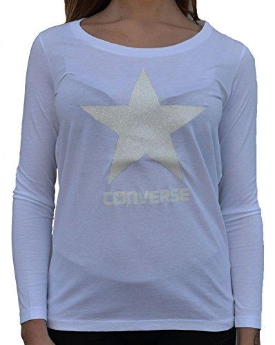Glitter Maniche Lunghe Converse Bianca shirt T XS Donna Converse Weiss  nw40xSqvx ... 85f691a61f
