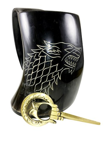 Original XL Game Of Thrones Inspired Hand Crafted Horn Mug - Bottle Opener and Giftbox Included - Glass Holds Around 24 Ounces of Ale or Liquid of