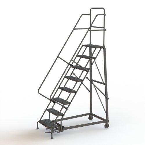 Tri-Arc KDHD108242 8-Step Heavy-Duty Steel Rolling Industrial & Warehouse Ladder with Grip Strut Tread