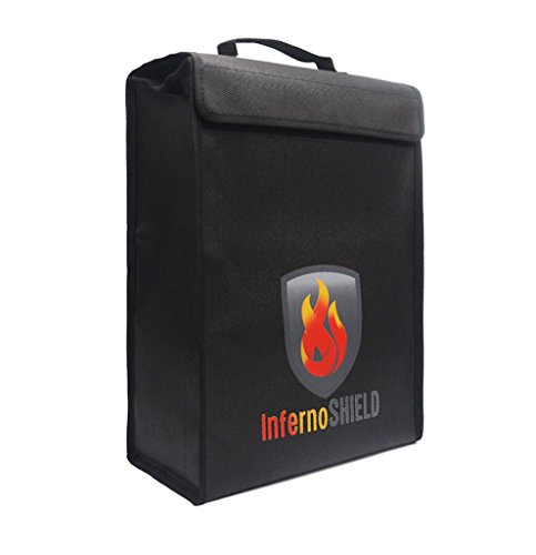 Fireproof Money And Document Bag By INFERNOSHIELD: Large Protective Bag For Valuables And Cash, Waterproof And Fire Resistant Silicone, Secure Zipper And Velcro Closure, Convenient And Strong ()