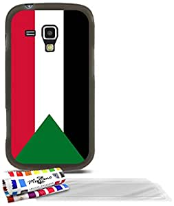 """Carcasa Flexible Ultra-Slim SAMSUNG GALAXY S DUO de exclusivo motivo [Bandera Sudán] [Gris] de MUZZANO  + 3 Pelliculas de Pantalla """"UltraClear"""" + ESTILETE y PAÑO MUZZANO REGALADOS - La Protección Antigolpes ULTIMA, ELEGANTE Y DURADERA para su SAMSUNG GALAXY S DUO"""