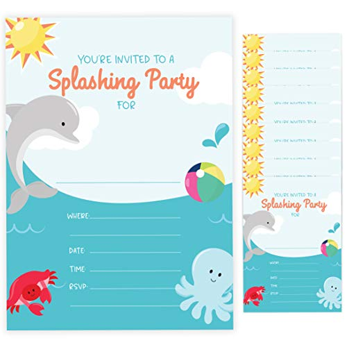 Dolphin Style 3 Happy Birthday Invitations Invite Cards (10 Count) With Envelopes Boys Girls Kids Party (10ct)]()