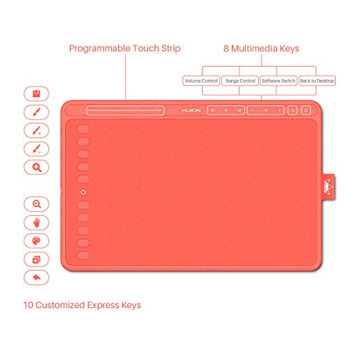 2020 HUION HS611 Red Graphics Drawing Tablet Android Support with 8 Multimedia Keys Battery-Free Stylus 8192 Pressure Sensitivity Tilt 10 Press Keys for Art Beginner-10inch (Coral Red)