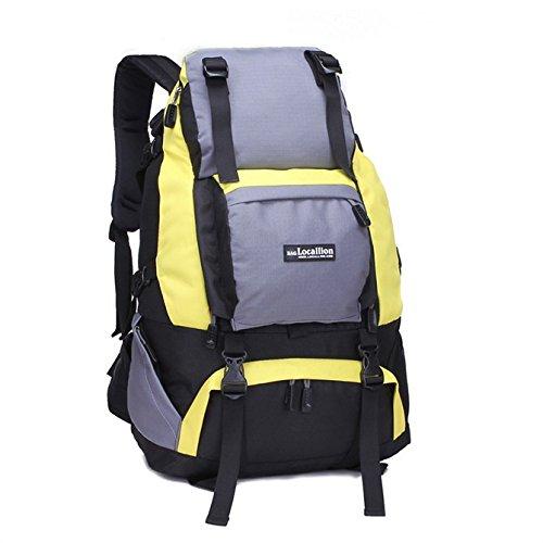 Ruanlei @Vintage CanvasRucksack/Outdoor Laptop-Rucksack/ReisenWandern/Rucksack mit großer KapazitätOutdoor reisen große Umhängetasche, schwarz yellow
