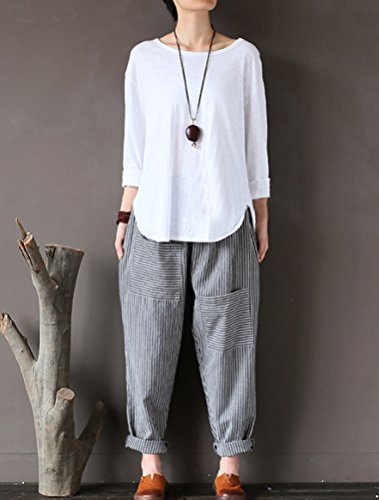 Mordenmiss Women's Casual Cotton Linen Pant w/Unique Pockets (L, Style 1-Gray) by Mordenmiss (Image #2)