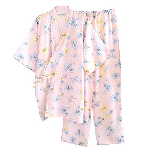 すばらしいです太いびっくりレディース パジャマ お寝巻き 部屋着 寝間着 便利服 ルームウェア 前開き 2重ガーゼ ソフト 柔らかい 和服 浴衣 綿 桜柄 上下セット