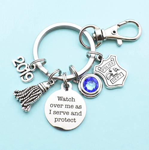 Police Academy Graduation Keychain in Silver Stainless Steel. Police Academy Graduation Gifts for Men or Women. Police Gifts -