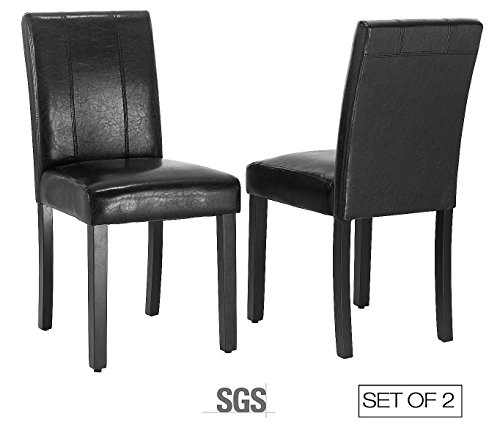 ZXBSWELE Set of 2 Parson Chair with Solid Wood Leg for Dining Room, Living Room, Kitchen, Leatherette, (Leather Living Room Set)