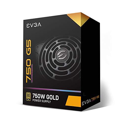 EVGA 220-G5-0750-X1 Super Nova 750 G5, 80 Plus Gold 750W, Fully Modular, ECO Mode with Fdb Fan, 10 Year Warranty, Compact 150mm Size, Power Supply