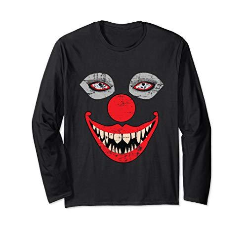 Scary Clown Face Long Sleeve T-Shirt Bizarre Halloween Shirt ()