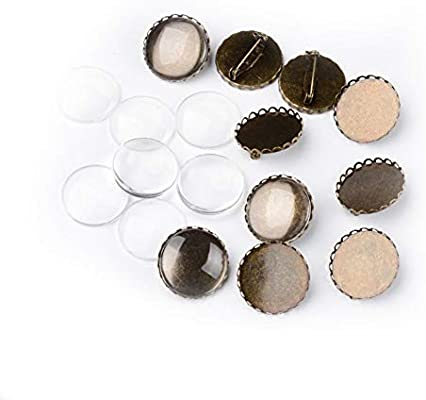 10Sets Iron Brooch Bezel Setting Clear Glass Cabochon Photo Cover Antique Bronze