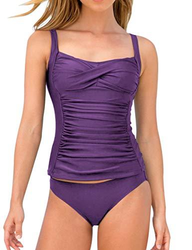 (MEROKEETY Women's Ruched Solid Two Piece Swimsuits Tummy Control Slimming Tankini Set Swimwear Purple)