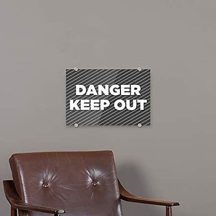 Stripes Gray Premium Brushed Aluminum Sign CGSignLab Danger Keep Out 27x18 5-Pack