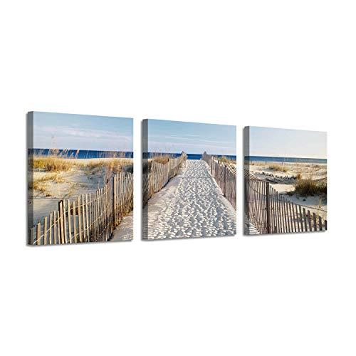 Coastal Picture Seascape Artwork Prints: Beach Fence Path on Canvas for - Canvas Fence