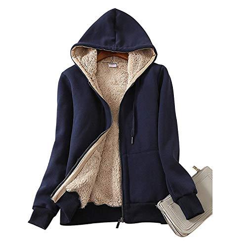 Ladies Plain Hoodie Winter Warm Fleece Lined Zip Up Jacket Coat for Women