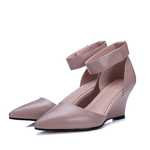 Allhqfashion Femmes Crochet Et Boucle Pointu Bout Fermé Talons Hauts Vache En Cuir Chaussures Solides Chaussures Rose