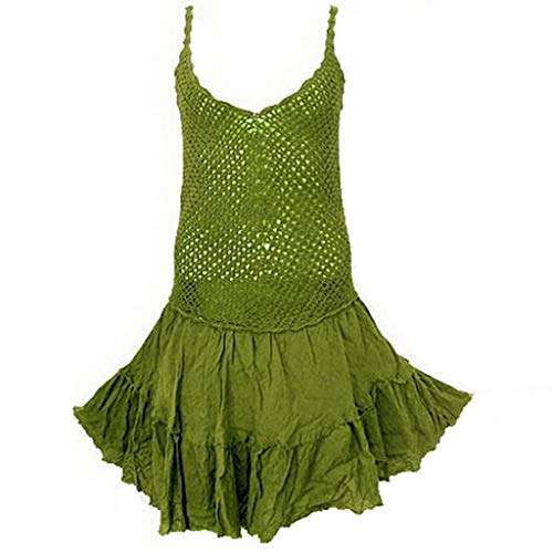 Coconutwoww Hippie Boho Crochet Froissement Spaghetti Robe Vert Foncé Olive Bracelet
