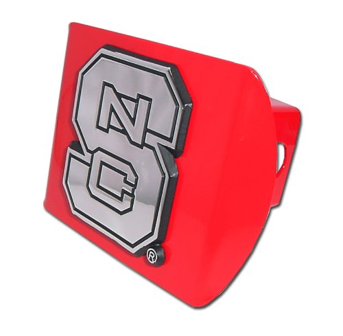 North Carolina State Red Metal NCAA Trailer Hitch Cover Fits 2 Inch Auto Car Truck Receiver with NCAA College Sports Logo ()