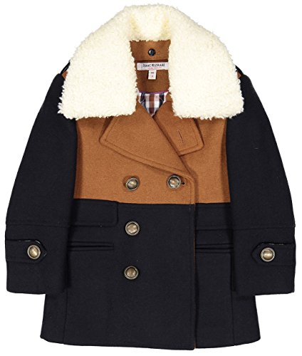Isaac Mizrahi Boy's CT1012 Two Toned Double Breasted Coat - Tan - 4 ()